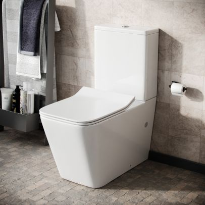 Modern Square Rimless Closed Coupled WC Toilet with Seat and Cistern