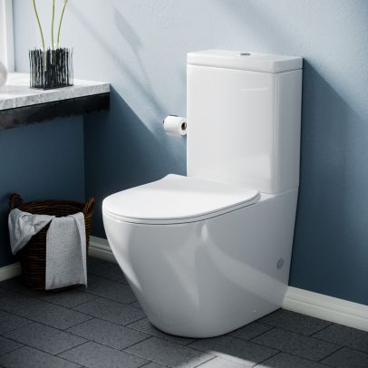 Curved Rimless Close Coupled WC Toilet Pan and Cistern Bathroom