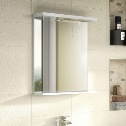 Nuie Premier Mayford Gloss White 650mm Mirror With Light Canopy