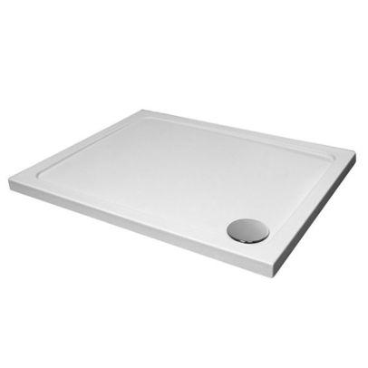 Slimline 1100 x 760 Rectangle Bathroom White Shower Tray Stone Resin