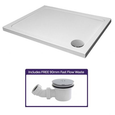 Small Low Profile 900 x 700 Stone Resin Shower Tray Rectangle With Free Waste