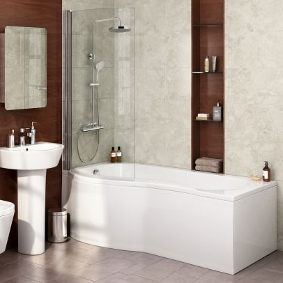 Diamond P Shaped Modern Shower Bath - 1700mm with Screen & Front Panel - Left Hand