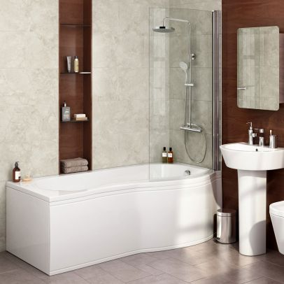 Diamond P Shaped Modern Shower Bath - 1700mm with Screen & Front Panel - Right Hand
