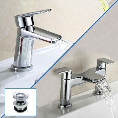 Centa Basin Mixer & Bath Filler Tap + Basin Waste