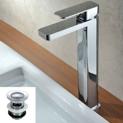 Plaza Faucet Monobloc Chrome Counter Top Tall Bathroom Sink Basin Mixer Tap + Waste