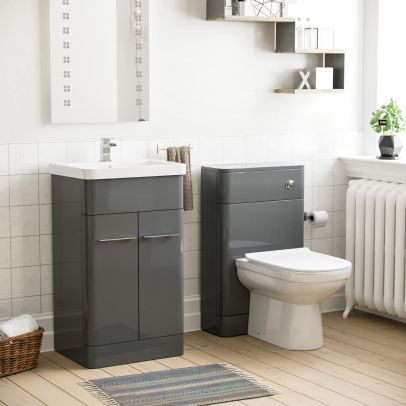 Lex 500mm Vanity Unit and WC Curved Toilet Grey
