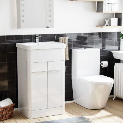 Lex 500mm Vanity Basin Unit & Rimless Close Coupled Toilet White