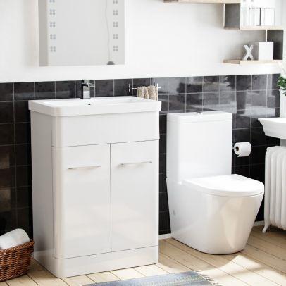 Lex 600mm Vanity Basin Unit & Rimless Close Coupled Toilet White