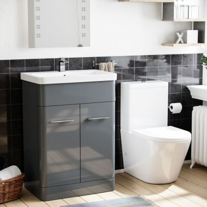 Magus Modern 600 mm Grey Vanity Basin Sink with Rimless Close Coupled Toilet