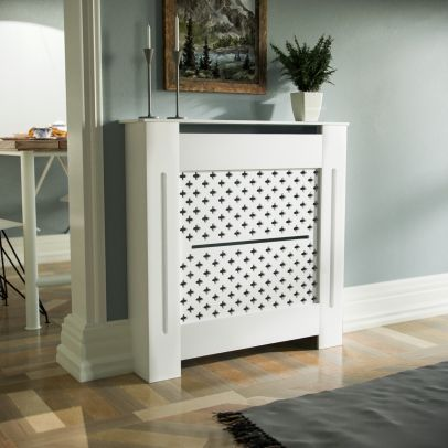Boa 780mm Small MDF Wood Radiator Cover Flower Pattern Grill Matte White
