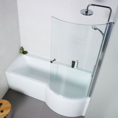 Kartell 1700 x 850mm Acrylic Square P Shaped Shower Bath + Shower Screen - Right Hand