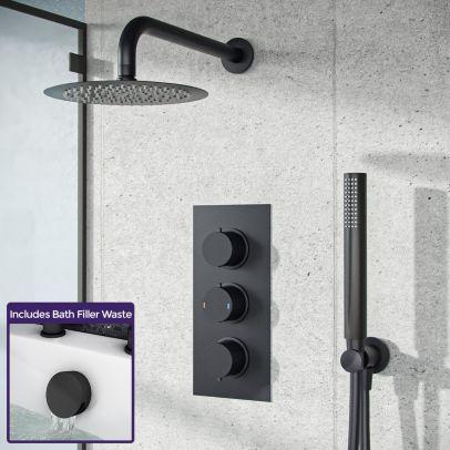 Wilden 3 Dial 3 Way Concealed Thermostatic Shower Mixer Valve Black Matte