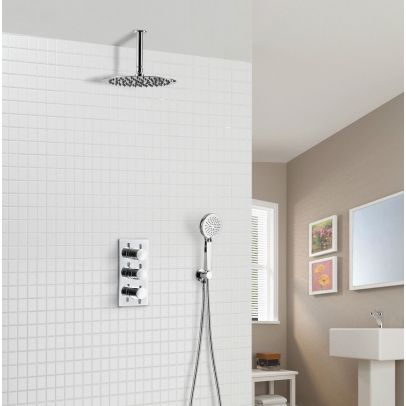 Calla 2 Way Round Rainfall Ceiling and Hand Held Shower with Concealed Thermostatic Control