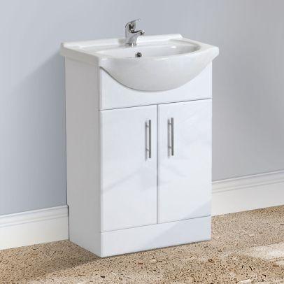 Dyon 550mm Floorstanding Basin Vanity Unit, Mono Mixer Tap & Waste White