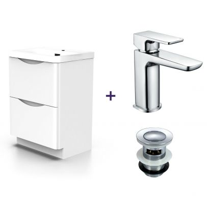 Lyndon White Basin Vanity Unit Tap and Tap with Waste Set