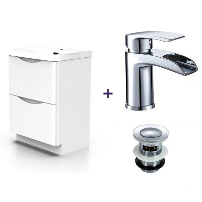 Lyndon White Basin Vanity Unit and Tap with Waste Set