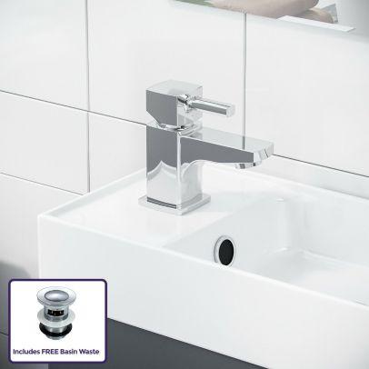 Nanuya 400mm Grey Cloakroom Vanity Basin Unit, Mixer Tap & Waste
