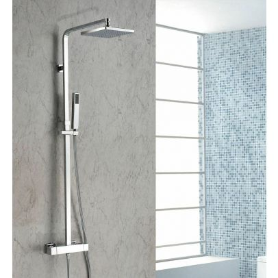 Lisbon Rainfall Shower Header Mixer Tap with Thermostatic Control