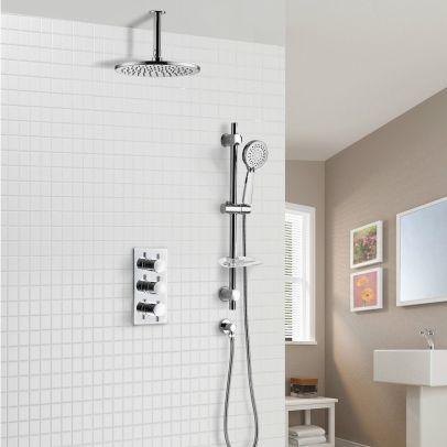 Calla Round Concealed Thermostatic Shower Valve Mixer Set - Ceiling Head & Adjustable Slider Rail Handset