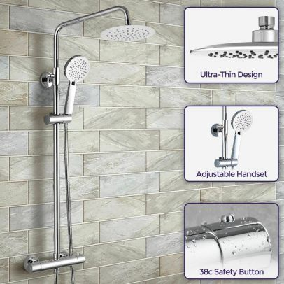 Lura Round Modern Exposed Thermostatic Dual Control Twin Shower Mixer Head