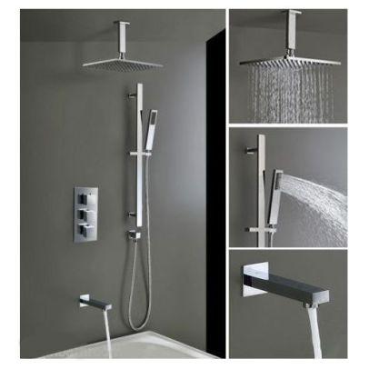 Bathroom Concealed Thermostatic Shower Mixer Abs Head Bath Filler & Handset Rail
