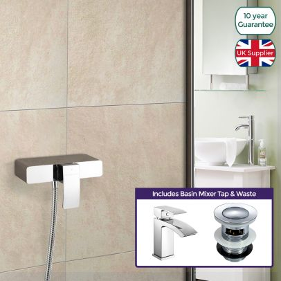 Square Thermostatic Shower Handset Mixer Cool Touch & Basin Mixer Tap