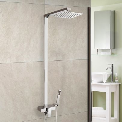 Premium Cool Touch Dual Square Thermostatic Shower with Large 250mm Head