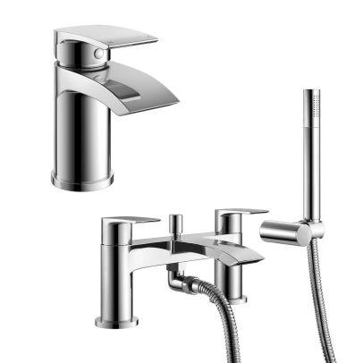 Vago Waterfall Basin Mono Tap, Bath Shower Mixer Tap & Waste Chrome