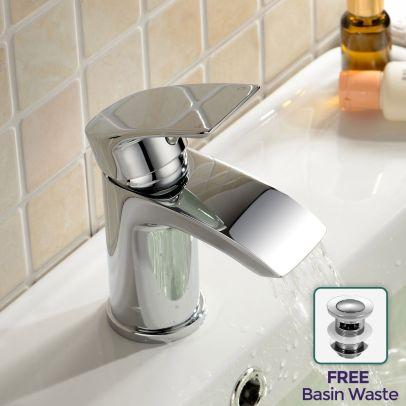 Libra Waterfall Cloakroom Tap Basin Mono Mixer Chrome Modern Design