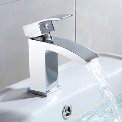 Arke Premium Quality Chrome Bathroom Basin Mono Mixer Tap Faucet + Sprung Waste