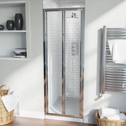 Bi-Fold Folding 700 mm Glass Door with Frameless 800 mm Side Panel