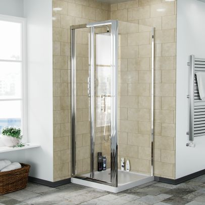Bi-Fold Folding 700 mm Glass Door with Frameless 760 mm Side Panel