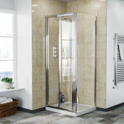 Bi-Fold Folding 760 mm Glass Door with Frameless 700 mm Side Panel