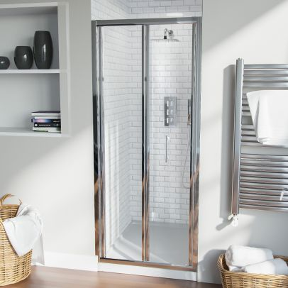 Bi-Fold Folding 800 mm Glass Door with Frameless 800 mm Side Panel
