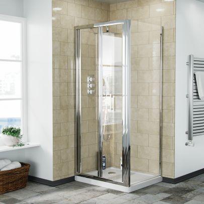 Bi-Fold Folding 800 mm Glass Door with Frameless 700 mm Side Panel