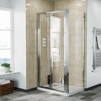 Bi-Fold Folding 900 mm Glass Door with Frameless 700 mm Side Panel