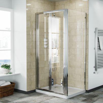Bi-Fold Folding 900 mm Glass Door with Frameless 760 mm Side Panel