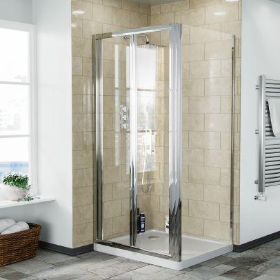 Bi-Fold Folding 900 mm Glass Door with Frameless 800 mm Side Panel