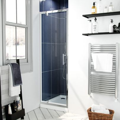 Jupiter 700mm Modern Pivot Shower Door Enclosure Screen Safety Glass
