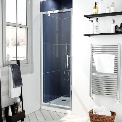 Jupiter 760mm Modern Pivot Shower Door Enclosure Screen Safety Glass