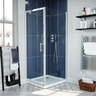 Jupiter 900mm Modern Pivot Shower Door Enclosure Screen Safety Glass