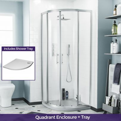 Saturn Quadrant 800mm Curved Corner Shower Enclosure and Low Profile Tray