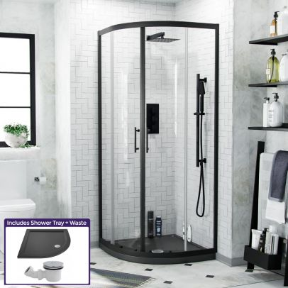 Saturn Quadrant 800mm Shower Enclosure, Tray & Waste Matte Black