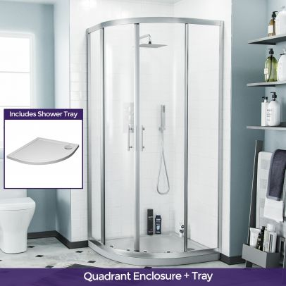 Saturn Quadrant 90 mm Curved Corner Shower Enclosure and Low Profile Tray