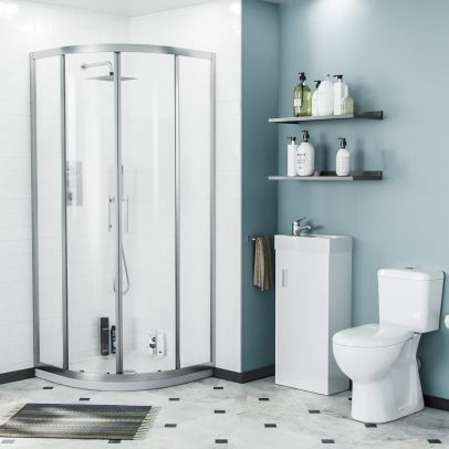 Lindley 3-Piece White Shower Enclosure Suite - 800mm Quadrant Shower Enclosure with Tray, Close Coupled WC Toilet with Seat and Floorstanding 400 mm Vanity Basin Unit