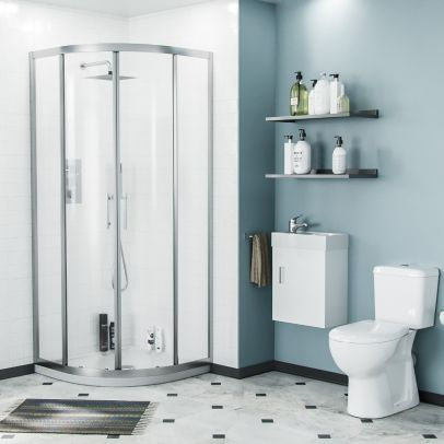 Lindley 3-Piece White Shower Enclosure Suite - 800mm Quadrant Shower Enclosure with Tray, Close Coupled WC Toilet with Seat and Wall Hung Vanity Basin Unit