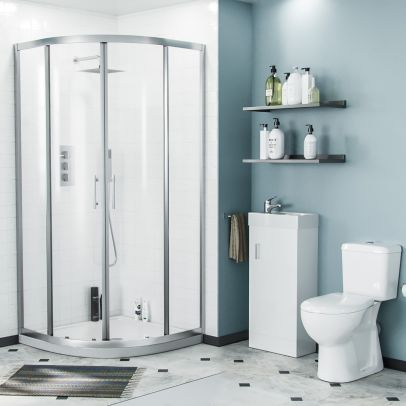 Lindley 3-Piece White Shower Enclosure Suite - 900mm Quadrant Shower Enclosure with Tray, Close Coupled WC Toilet with Seat and Floorstanding 400 mm Vanity Basin Unit