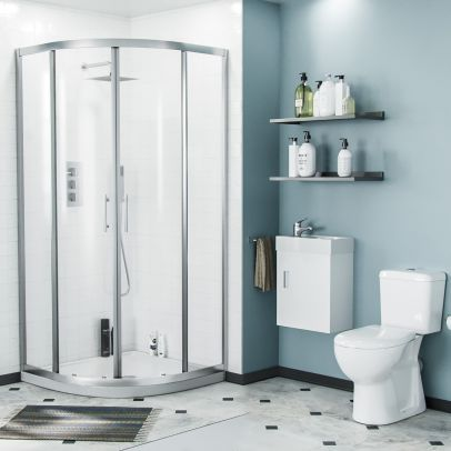 Lindley 3-Piece White Shower Enclosure Suite - 900mm Quadrant Shower Enclosure with Tray, Close Coupled WC Toilet with Seat and Wall Hung 400 mm Vanity Basin Unit