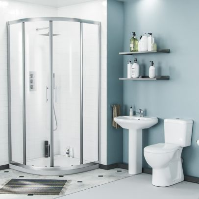 Lindley 3-Piece 545 mm Basin Full Pedestal and Toilet with 800 Quadrant Shower