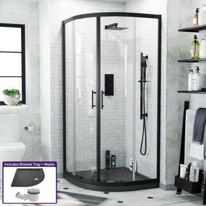 Saturn Quadrant 900mm Shower Enclosure, Tray & Waste Matte Black